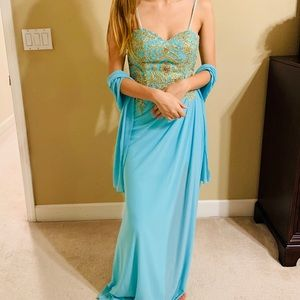 Aspeed Teal Bejeweled Gown with Gold Detailing